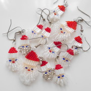 Beaded Santa Earrings