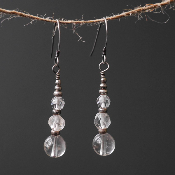 Sterling Silver Crystal Quartz Earrings