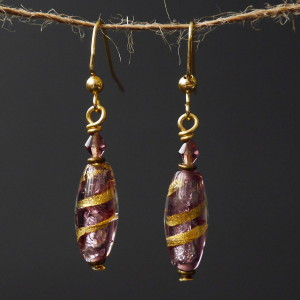 Purple & Gold Lampwork Beaded Earrings