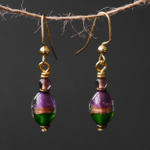 Purple & Emerald Lampwork Glass Beaded Earrings