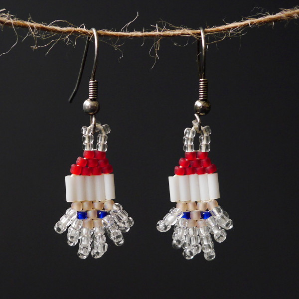 Mini Crystal Santa Beaded Earrings