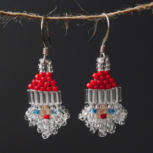 Crystal Beard Santa Beaded Earrings