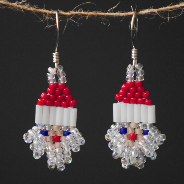 Rainbow Crystal Santa Beaded Earrings