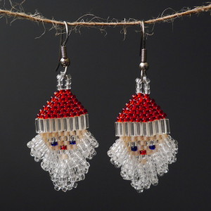 Large Crystal Santa Beaded Earrings