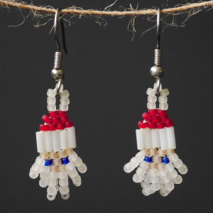 Mini Frosted Santa Beaded Earrings