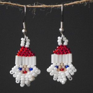 Pearl White Santa Beaded Earrings