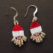 Silver Santa Beaded Earrings