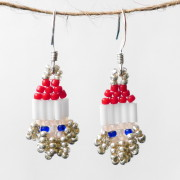 Mini Silver Santa Beaded Earrings