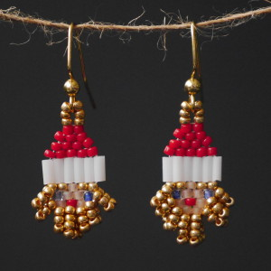 Gilded Santa Beaded Earrings