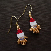 Mini Gilded Santa Beaded Earrings